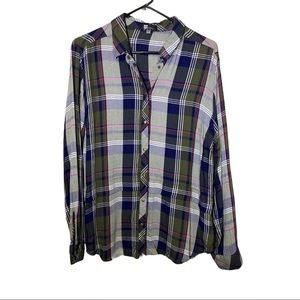 Kut From The Kloth Plaid Button Down Shirt Size L